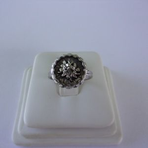 Sarah Coventry Silver Tone Floral Ring Adjustable
